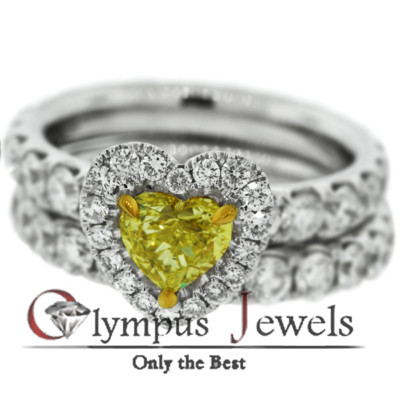 5.89CT GIA CERTIFIED FANCY YELLOW DIAMOND RING 18KW