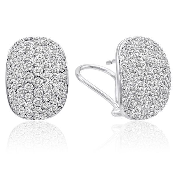 4.33CT DIAMOND PAVE SET HUGGIE EARRINGS 14K GOLD VVS-E