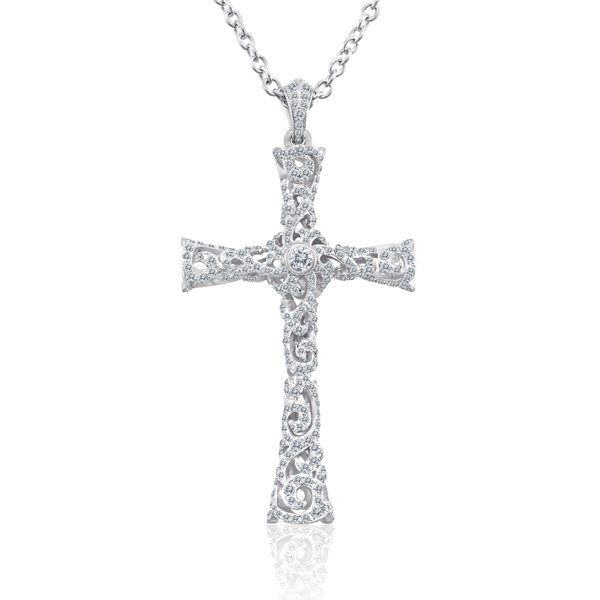 1.70CT DIAMOND PAVE CROSS PENDANT NECKLACE 18KG
