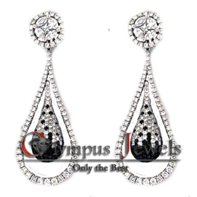 4 PIECE WHITE & BLACK 3.95CT DIAMOND EARRINGS