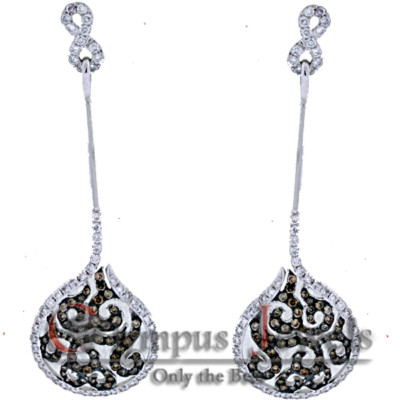 WHITE AND CHAMPAGNE DIAMOND DROP EARRINGS 2.25CT 18KW