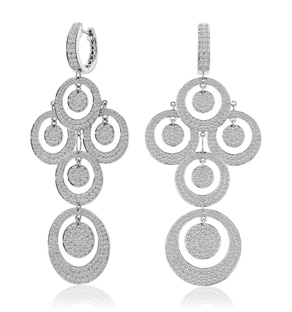 11.74CT DIAMOND DANGLE CHANDELIER GOLD EARRINGS