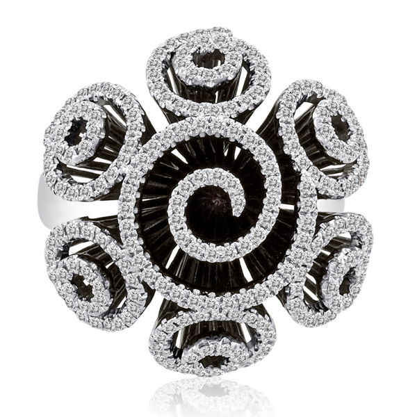 1.54CT DIAMOND FLOWER PAVE 18K BLACK GOLD RING