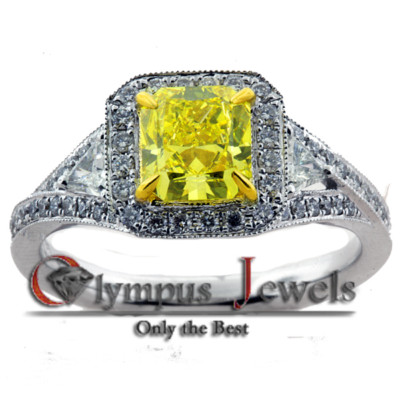 1.72CT VIVID YELLOW CERTIFIED DIAMOND ENGAGEMENT RING