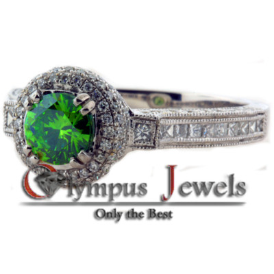 1.97CT FANCY GREEN CERTIFIED DIAMOND ENGAGEMENT RING