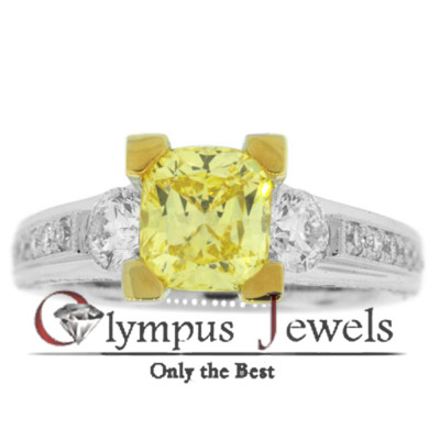 2.72CT GIA CERTIFIED FANCY YELLOW DIAMOND RING 18KW