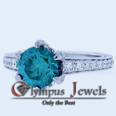 3.42CT FANCY BLUE CERTIFIED DIAMOND ENGAGEMENT RING