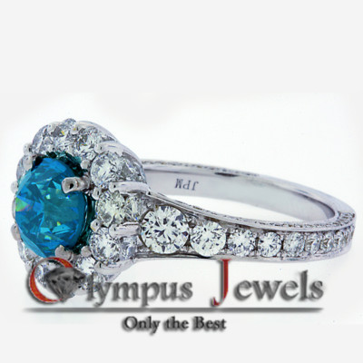 5.45CT VIVID BLUE CERTIFIED DIAMOND ENGAGEMENT RING