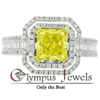 2.35CT GIA CERTIFIED VIVID YELLOW DIAMOND RING 18KW