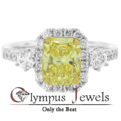 3.05CT GIA CERTIFIED FANCY YELLOW DIAMOND RING 18KW
