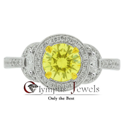 1.43CT VIVID YELLOW CERTIFIED DIAMOND ENGAGEMENT RING