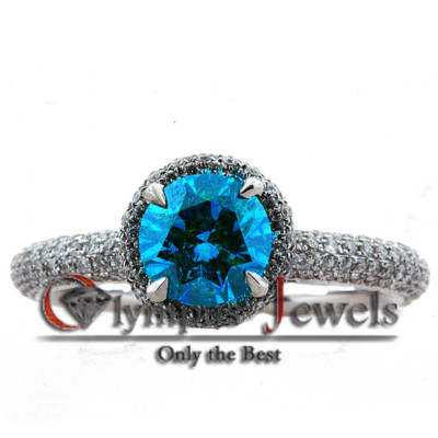 1.80CT VIVID BLUE CERTIFIED DIAMOND ENGAGEMENT RING