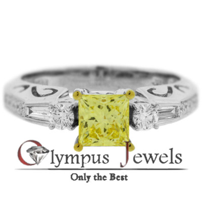 1.42CT GIA CERTIFIED FANCY YELLOW DIAMOND RING 18KW