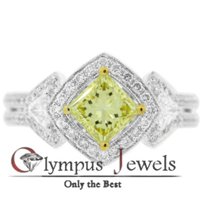 1.61CT GIA CERTIFIED FANCY YELLOW DIAMOND RING 18KW