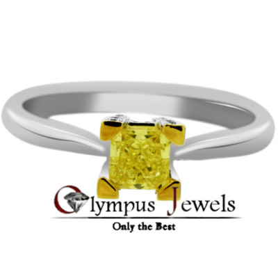 0.60CT FANCY YELLOW CERTIFIED DIAMOND ENGAGEMENT RING