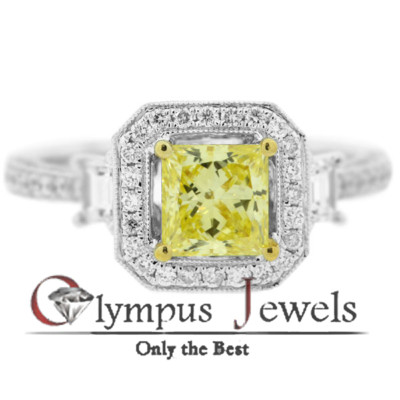 1.92CT GIA CERTIFIED FANCY YELLOW DIAMOND RING 18KW