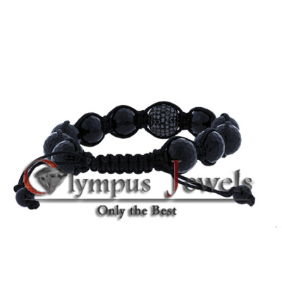 4.50CT SHAMBALLA BRACELET 10KBG SET WITH BLACK DIAMONDS