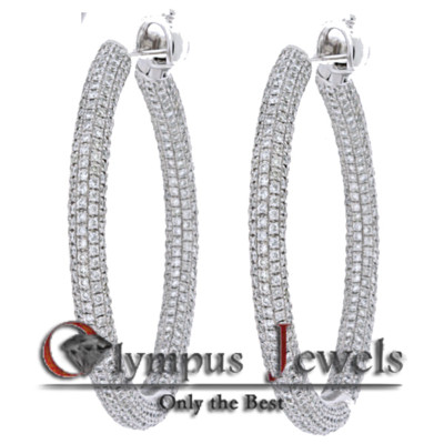 7.00CT 18K WHITE GOLD CUSTOM DIAMOND HOOP EARRINGS!!