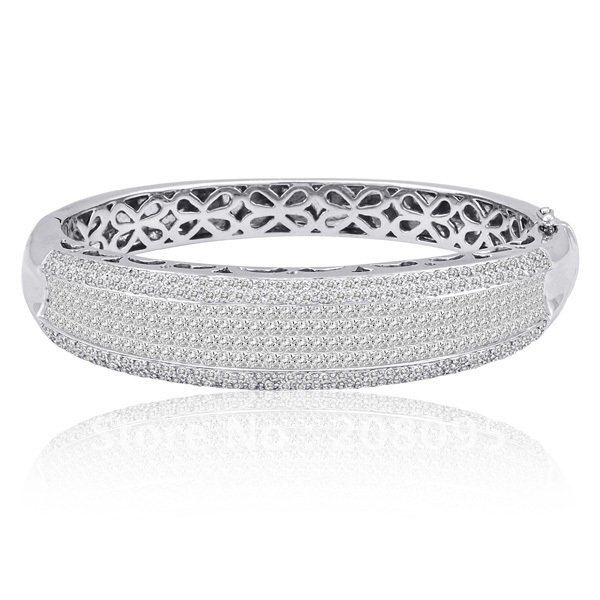 11.98CT PRINCESS DIAMOND PAVE 14K BANGLE BRACELET