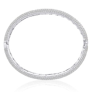 12.32CT DIAMOND ETERNITY PAVE BANGLE 14K BRACELET
