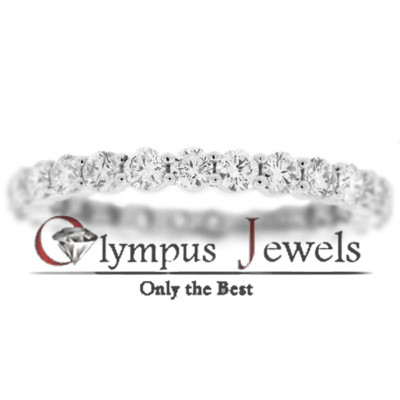 1.53CT F-G SI1 CERTIFIED DIAMOND WEDDING BAND 18KW