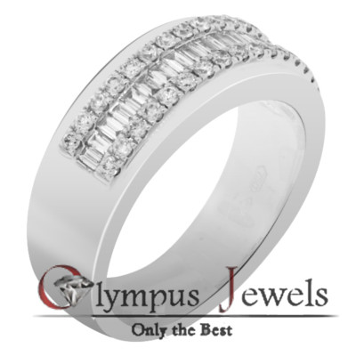 0.74CT F-G VS2-SI2 CERTIFIED DIAMOND WEDDING BAND 18KW