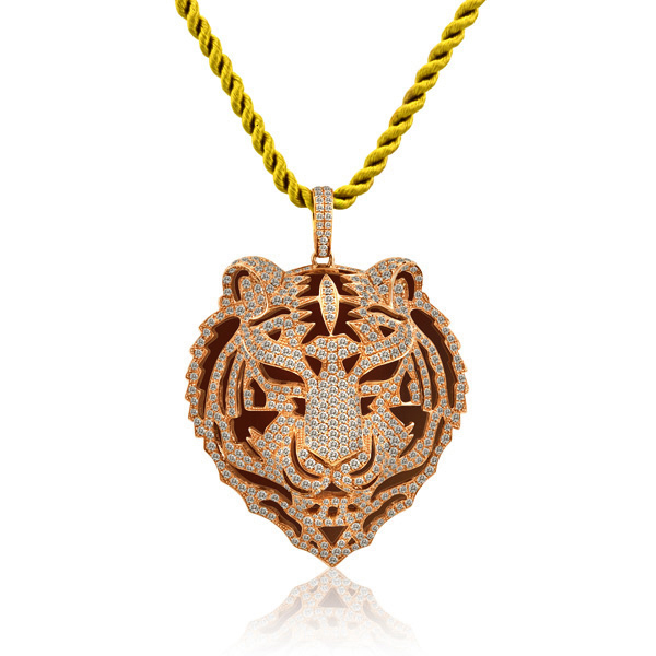 5.06CT DIAMOND TIGER 18K GOLD PENDANT NECKLACE VVS2-E