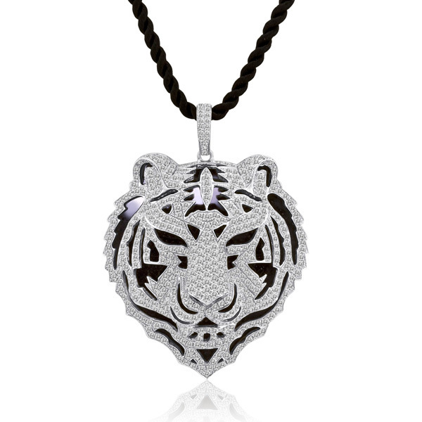 5.10CT DIAMOND TIGER 18K GOLD PENDANT NECKLACE VVS2-E