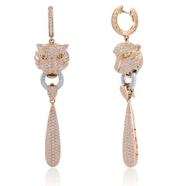3.35CT DIAMOND TIGER CHANDELIER PAVE EARRINGS 18K VVS-E