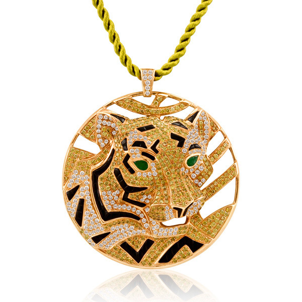 6.08CT DIAMOND TIGER 18K GOLD PENDANT NECKLACE VS1-E